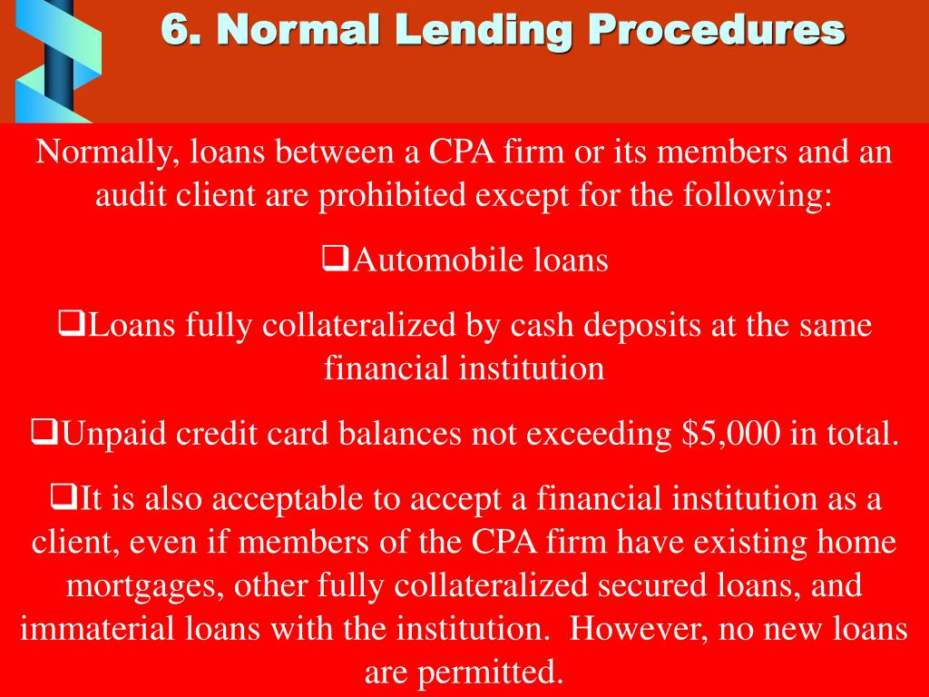 6. Normal Lending Procedures