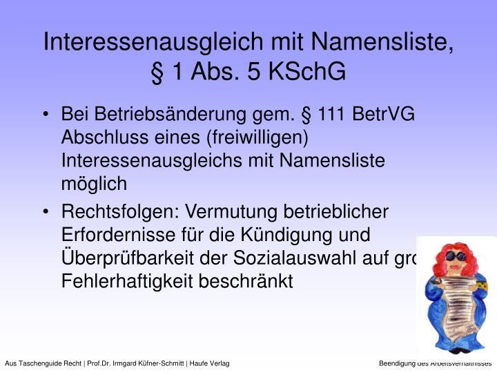 Interessenausgleich mit Namensliste, § 1 Abs. 5 KSchG