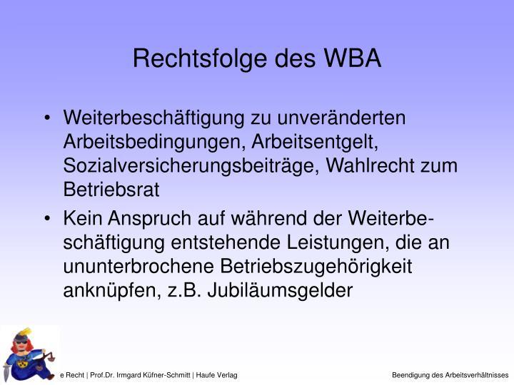 Rechtsfolge des WBA