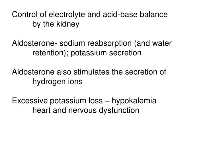 Control of electrolyte and acid-base balance
