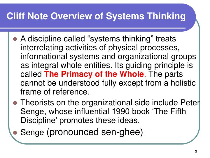 Cliff note overview of systems thinking