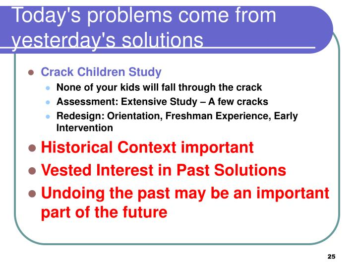 Today's problems come from yesterday's solutions