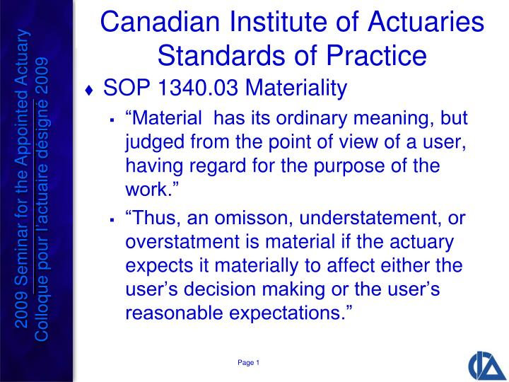 Canadian institute of actuaries standards of practice