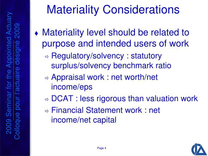 Materiality Considerations
