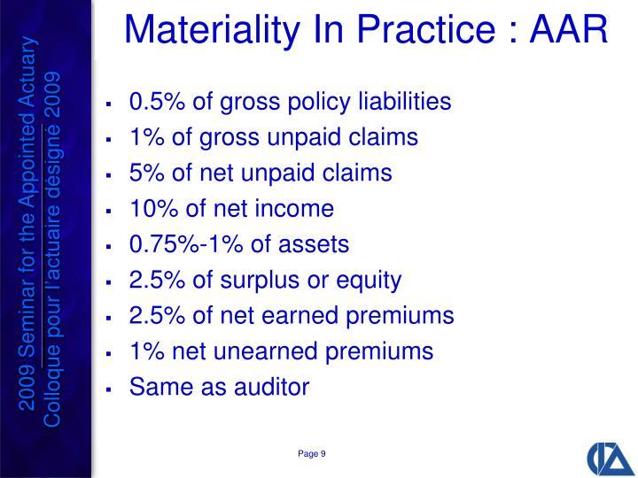 Materiality In Practice : AAR