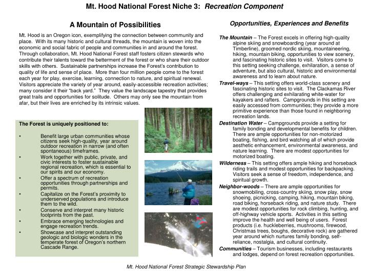 Mt hood national forest niche 3 recreation component