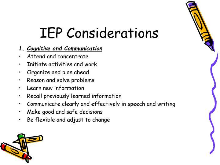IEP Considerations
