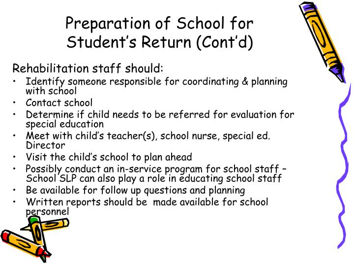 Preparation of School for Student's Return (Cont'd)
