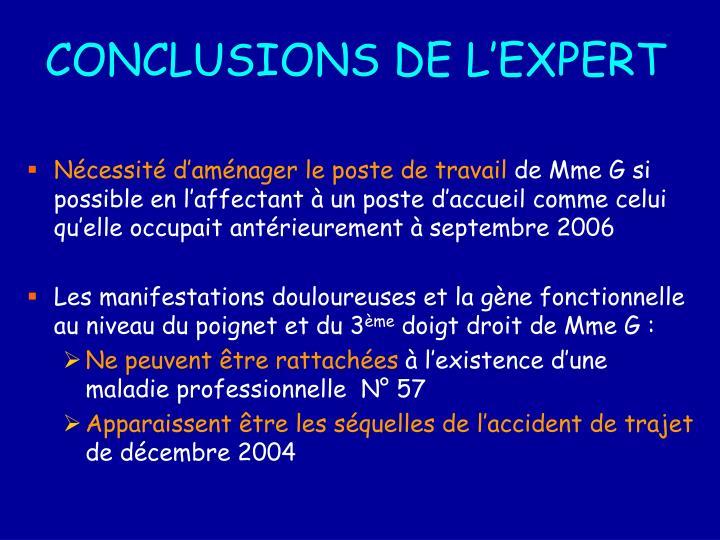 CONCLUSIONS DE L'EXPERT