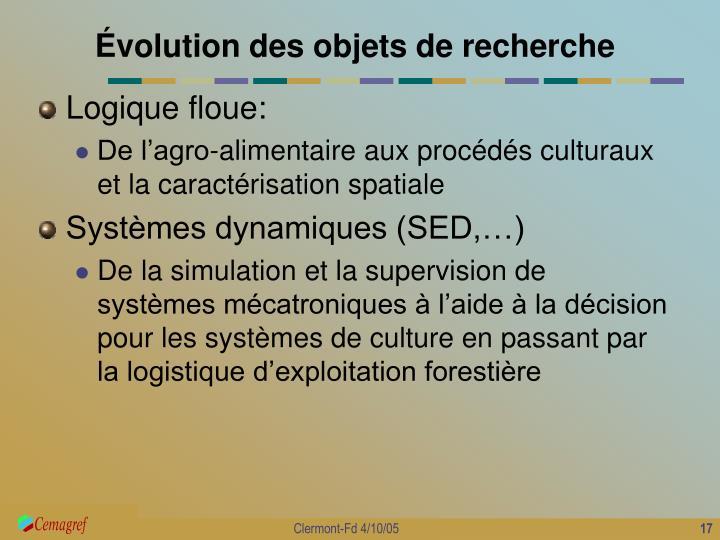 Évolution des objets de recherche