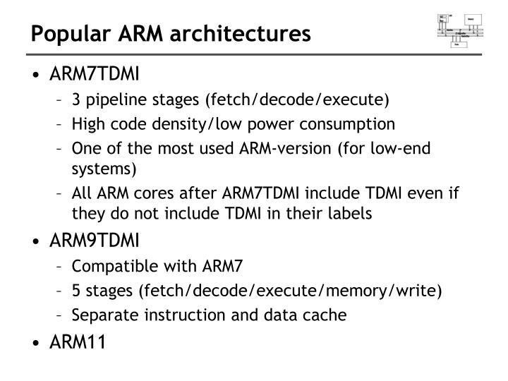 Popular ARM architectures