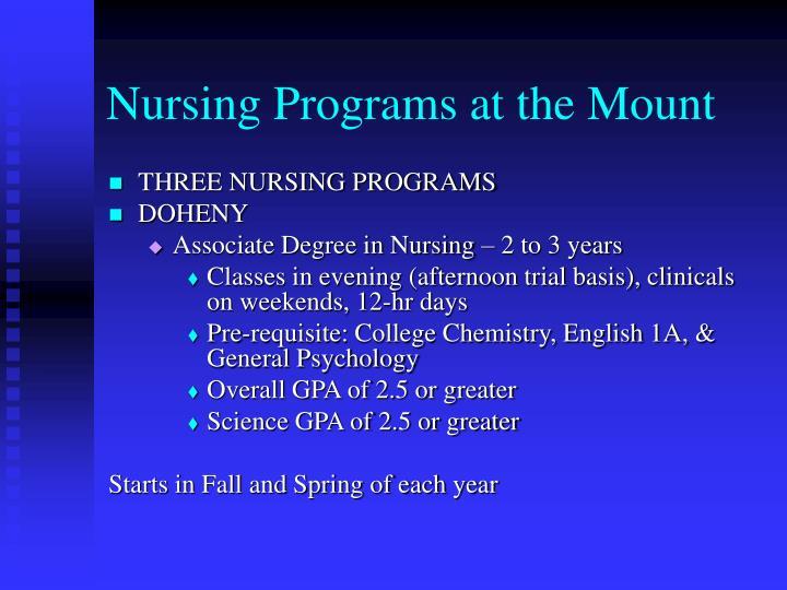 THREE NURSING PROGRAMS