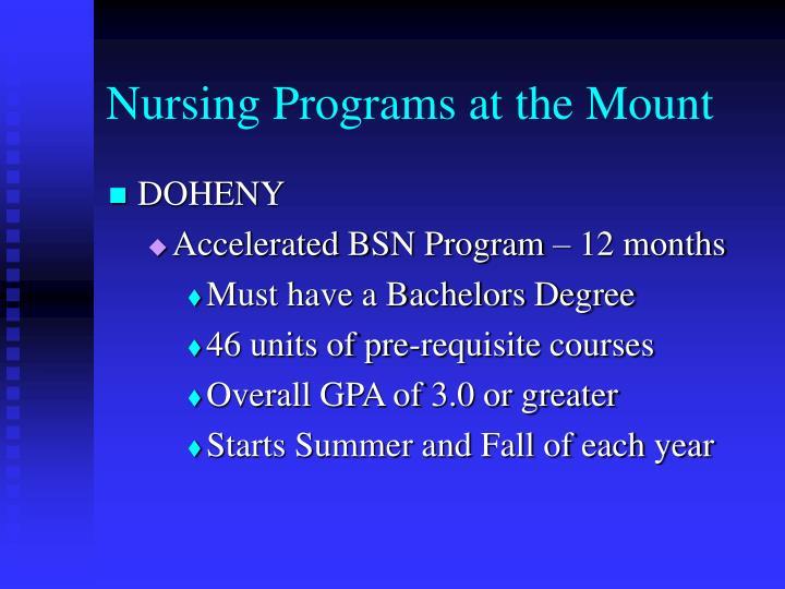 Nursing Programs at the Mount