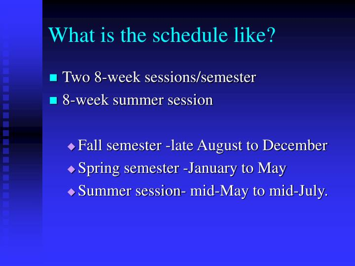 What is the schedule like?