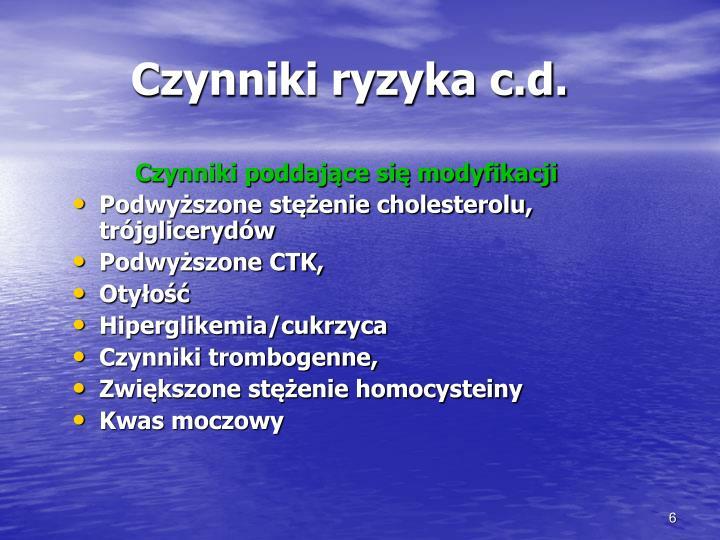 Czynniki ryzyka c.d.