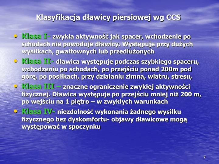 Klasyfikacja dławicy piersiowej wg CCS