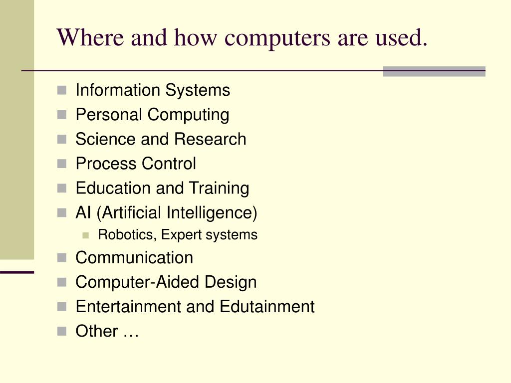 Where and how computers are used.