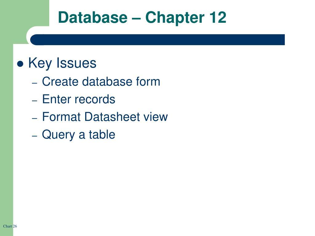 Database – Chapter 12