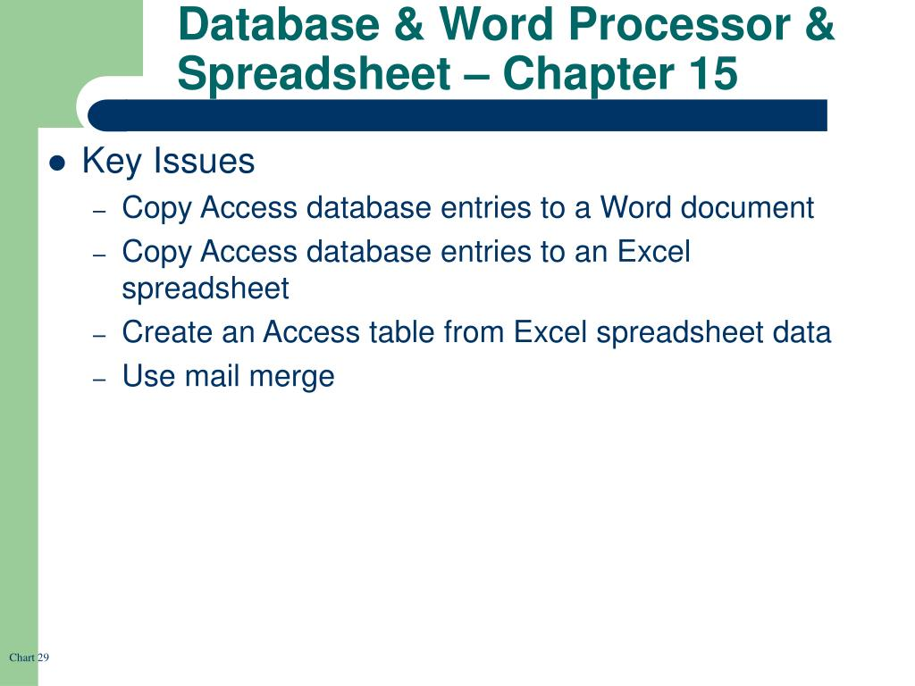 Database & Word Processor & Spreadsheet – Chapter 15