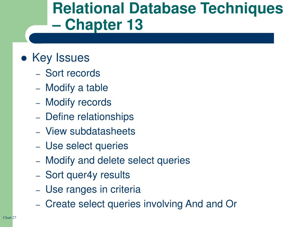 Relational Database Techniques – Chapter 13