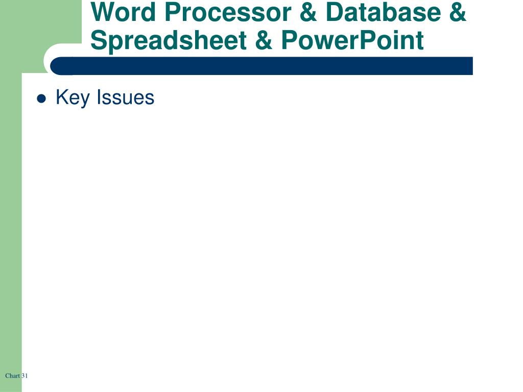 Word Processor & Database & Spreadsheet & PowerPoint