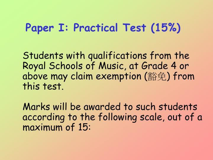 Paper I: Practical Test (15%)