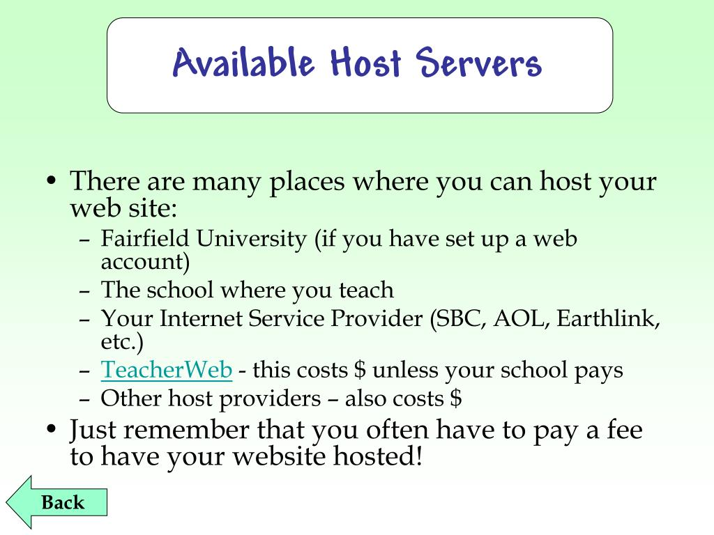 Available Host Servers