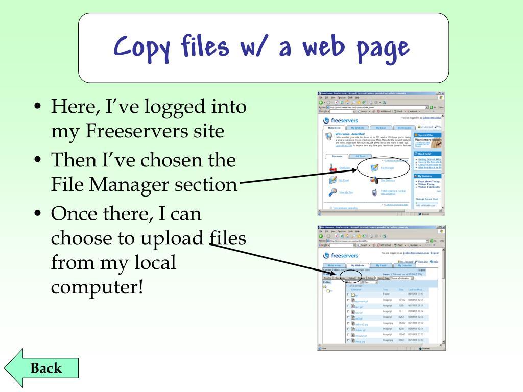 Copy files w/ a web page