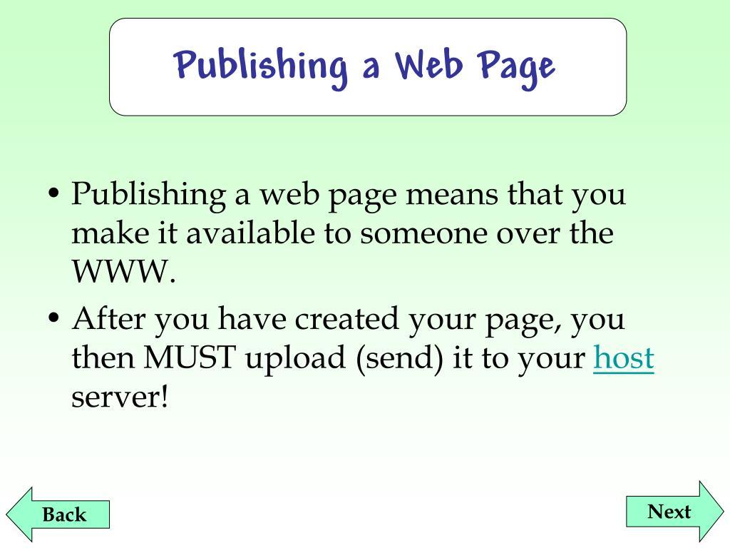 Publishing a Web Page