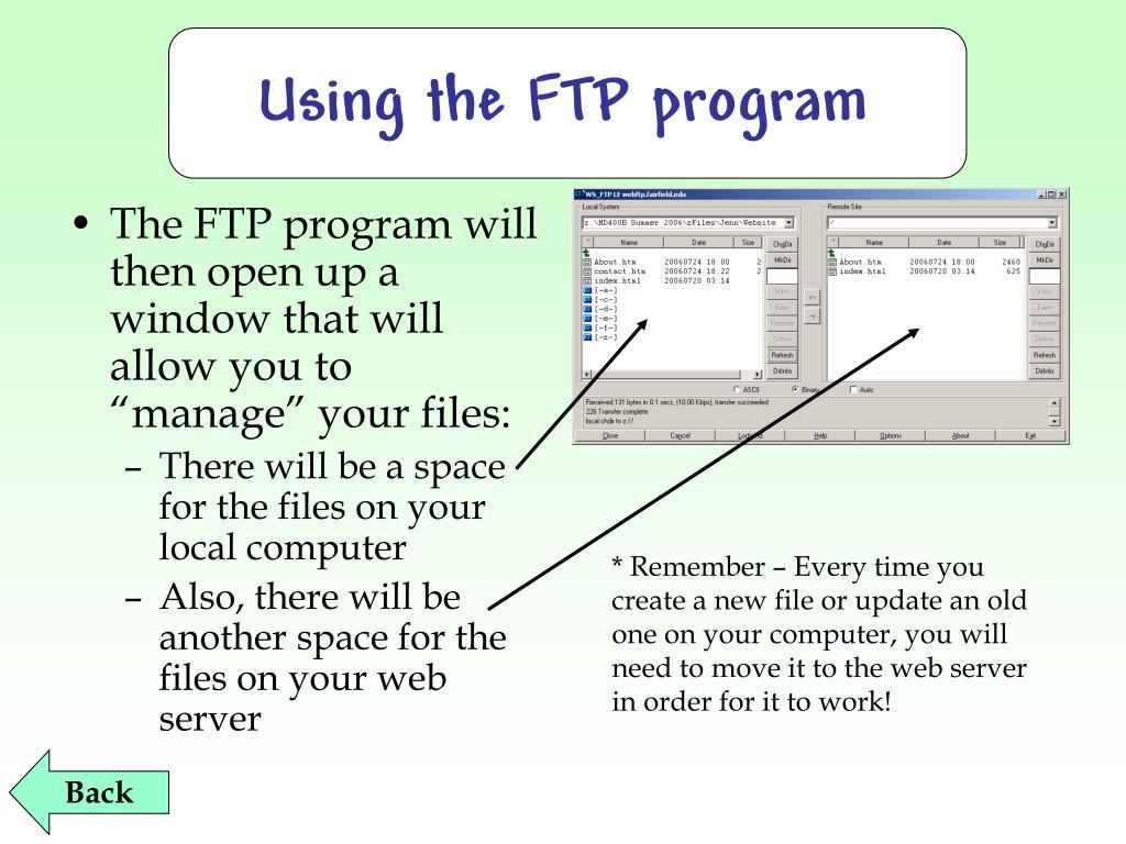 Using the FTP program