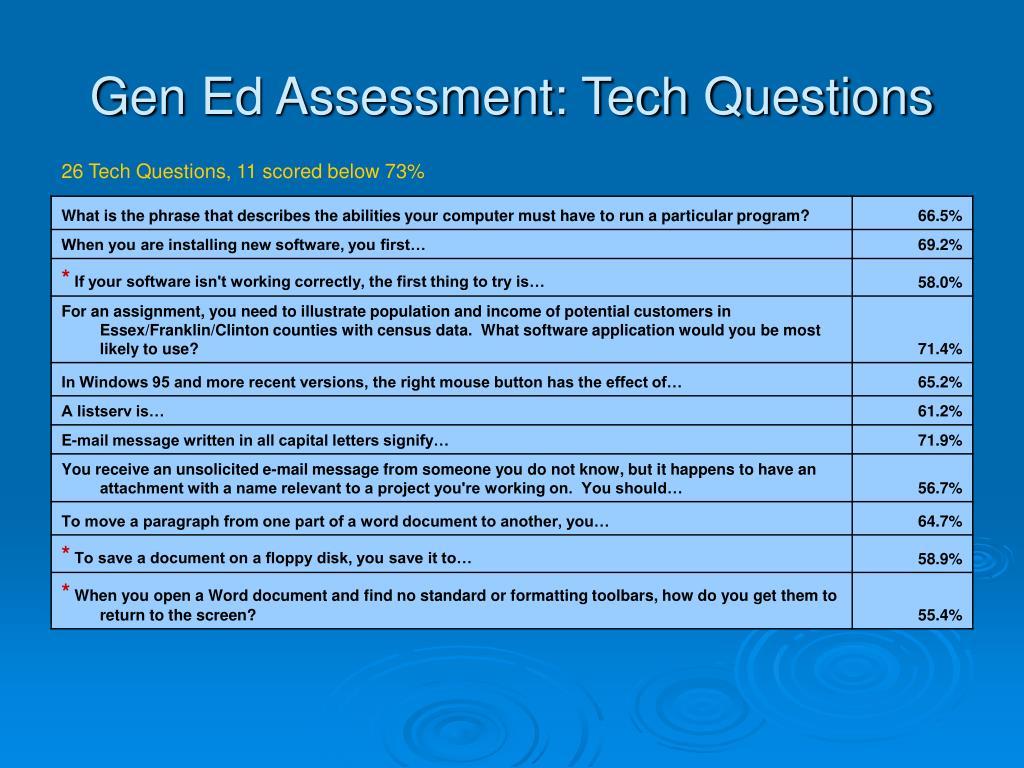 Gen Ed Assessment: Tech Questions