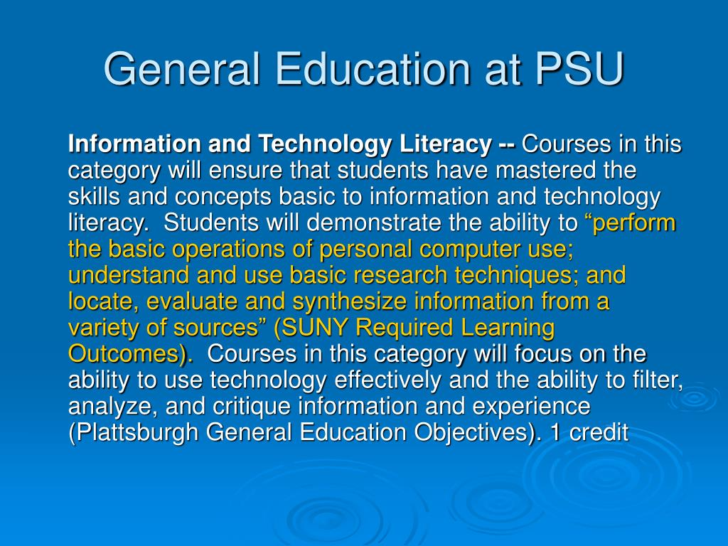 General Education at PSU