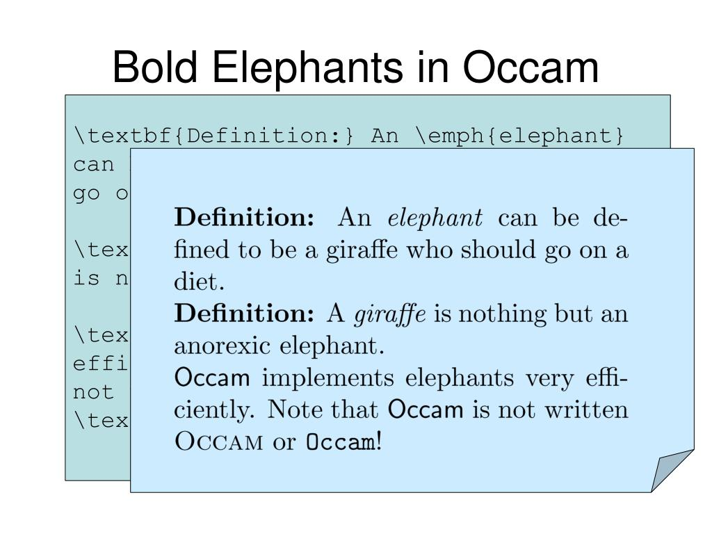 Bold Elephants in Occam