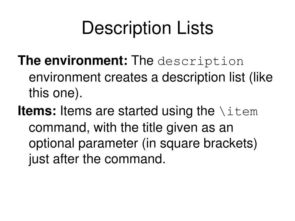 Description Lists