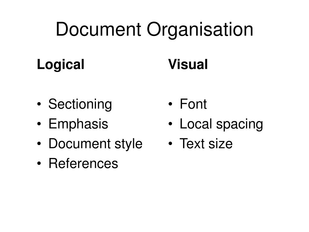 Document Organisation