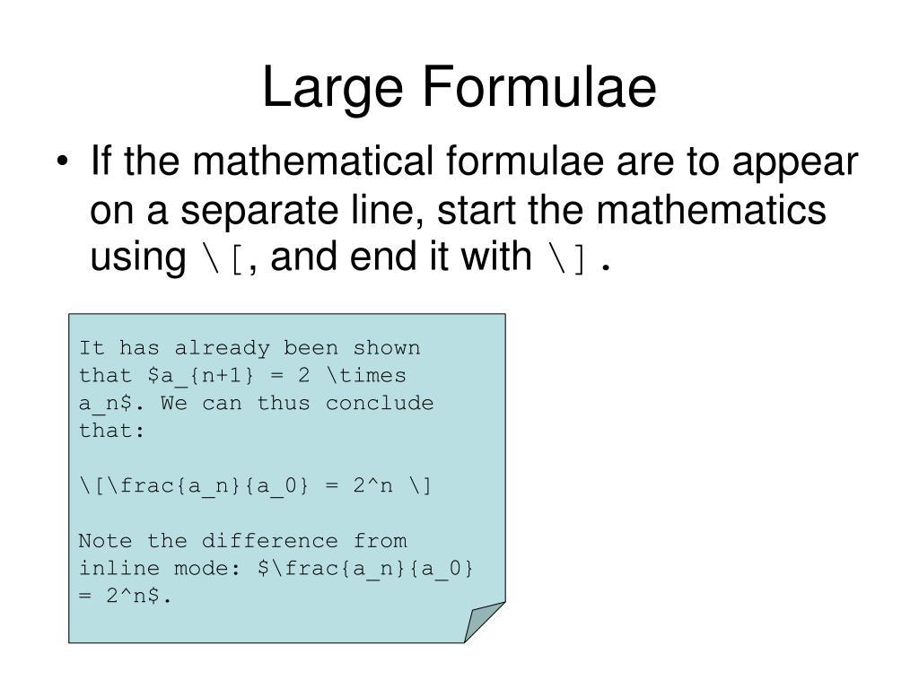 Large Formulae