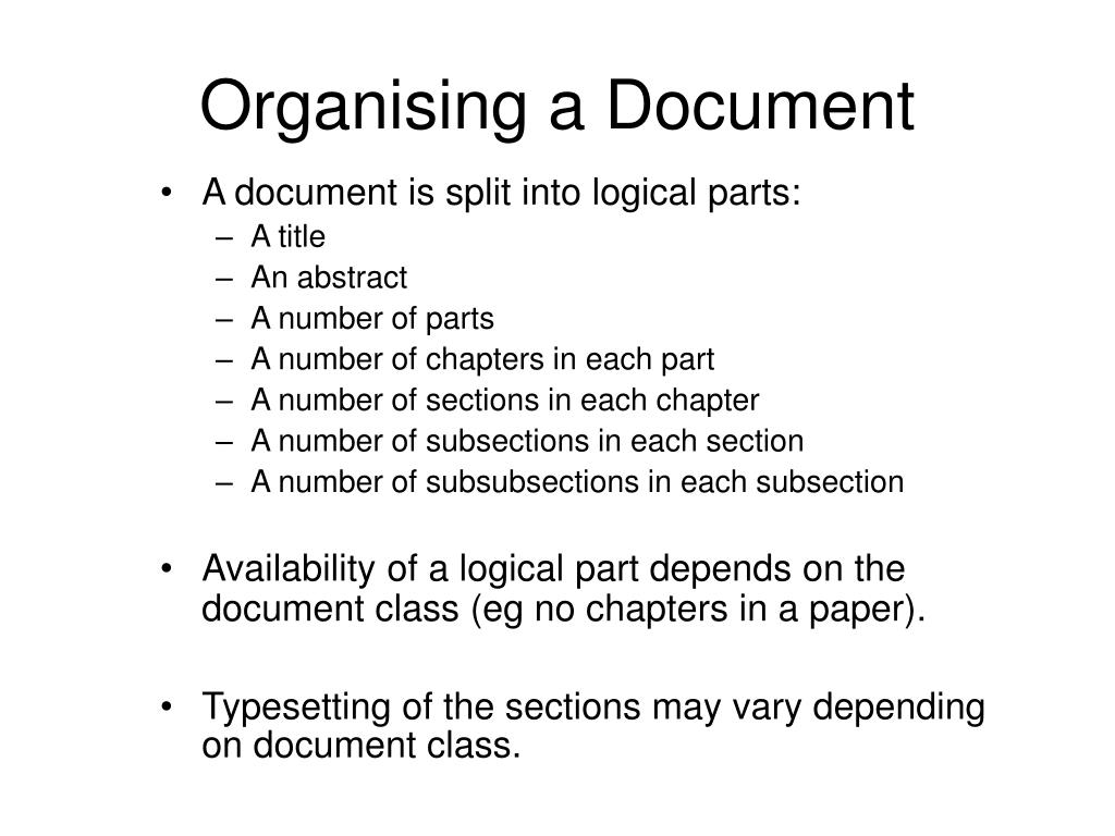 Organising a Document