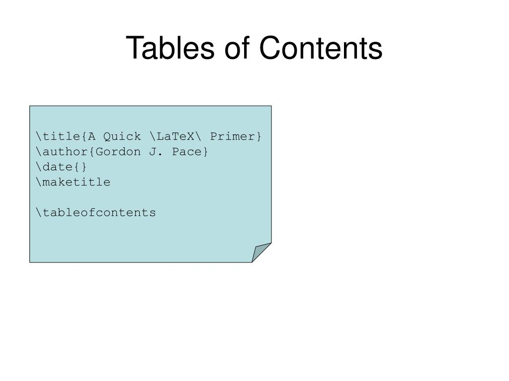 Tables of Contents