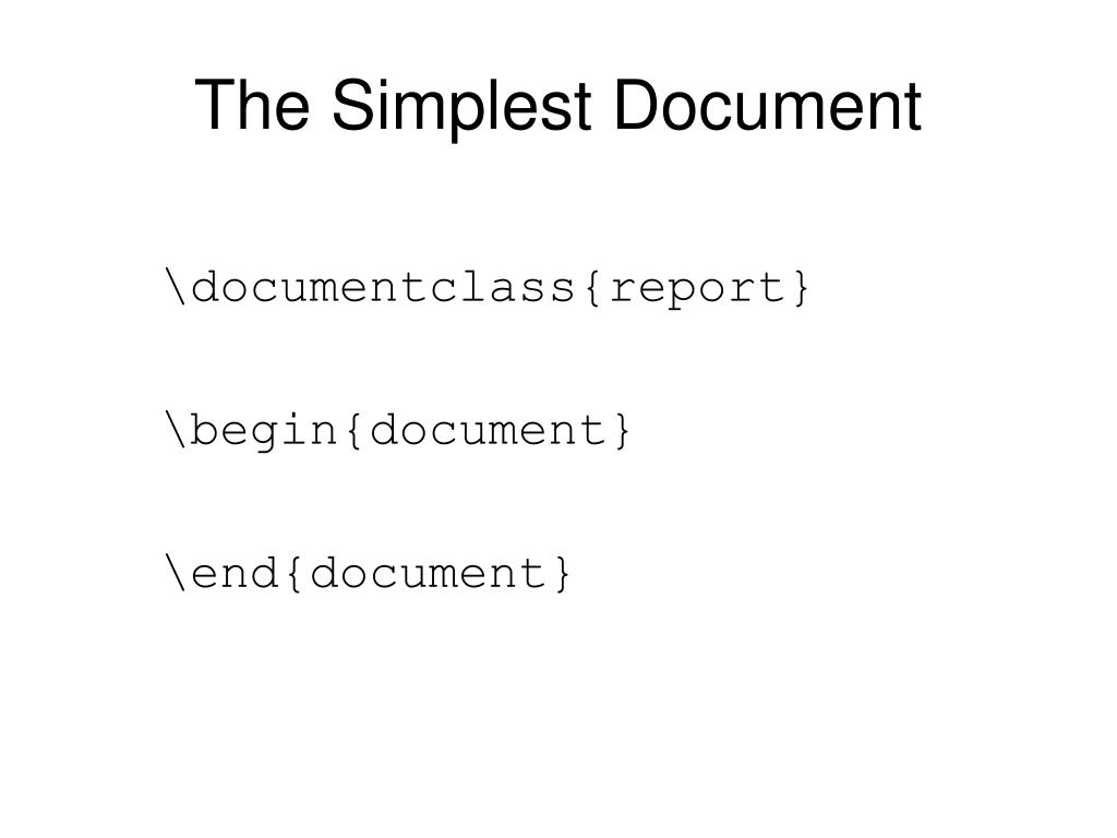 The Simplest Document