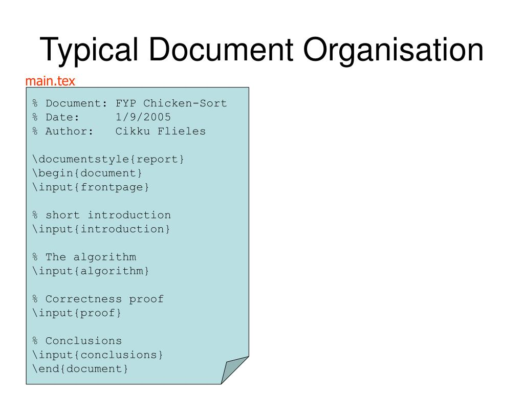 Typical Document Organisation