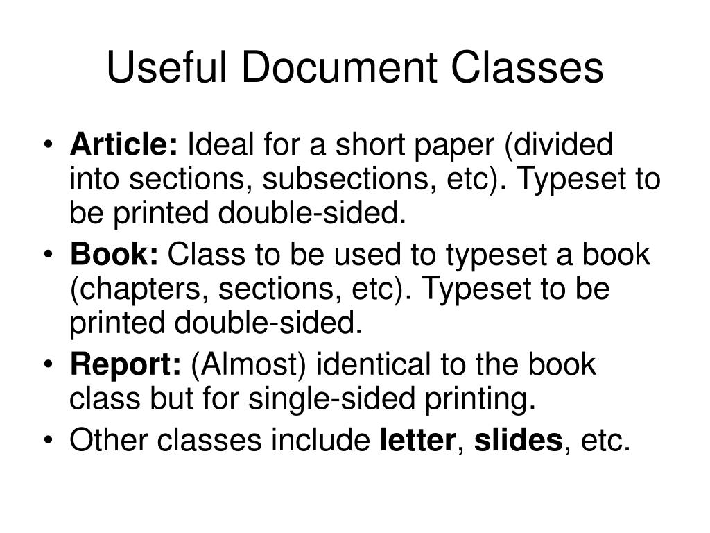 Useful Document Classes