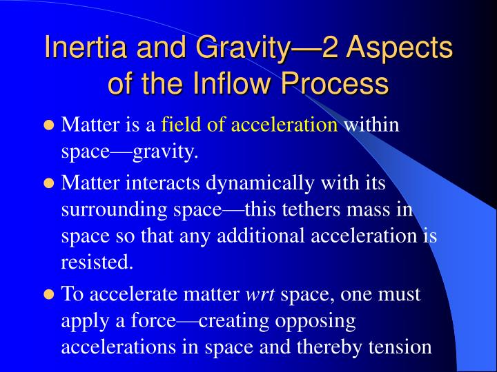 Inertia and Gravity—2 Aspects of the Inflow Process