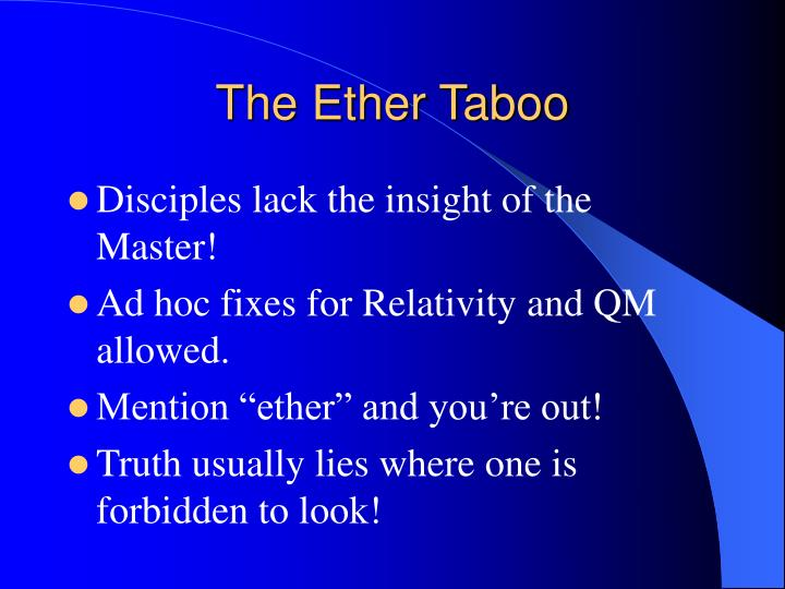 The Ether Taboo