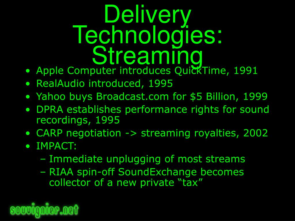 Delivery Technologies: Streaming