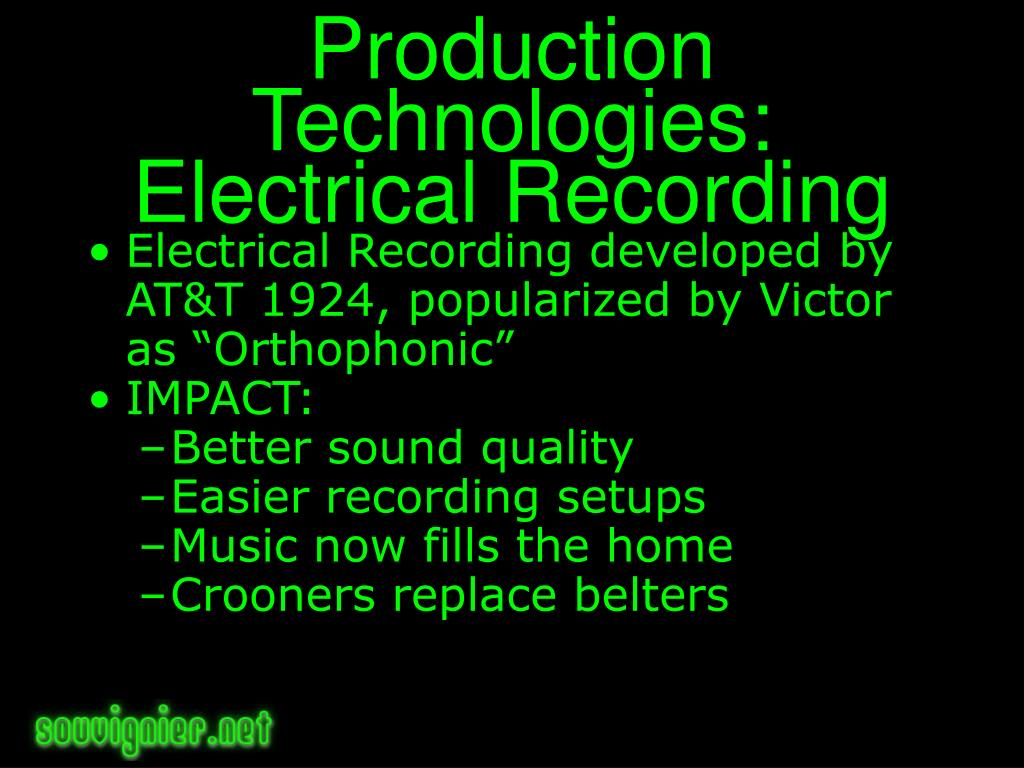 Production Technologies: Electrical Recording