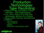 production technologies tape recording