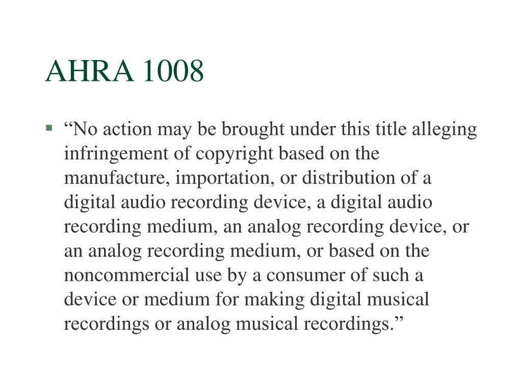 AHRA 1008