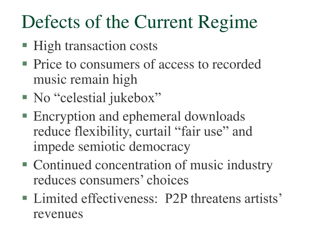 Defects of the Current Regime