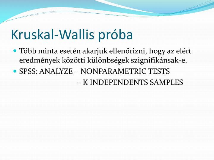 Kruskal-Wallis próba