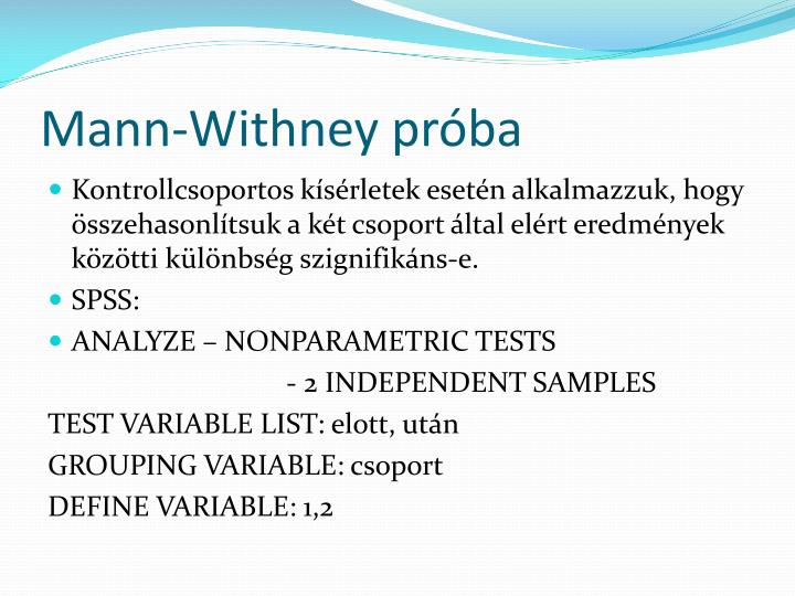 Mann-Withney próba
